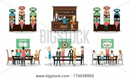 Isolated casino set on white background. Craps, roulette and poker. Bar and slot machines.