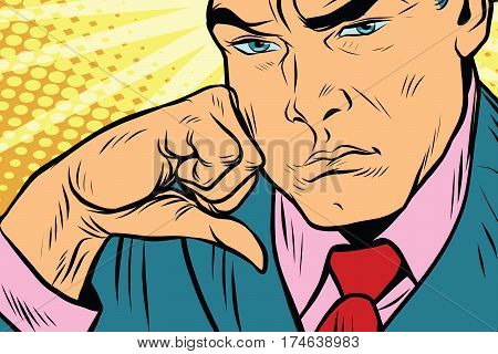 Close-up face of a man thinker. Pop art retro vector illustration