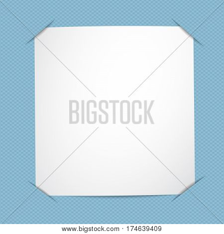 Blank, white paper card inserted into squared blue background.