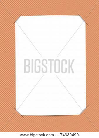 Blank, white paper card inserted into squared bright orange background.