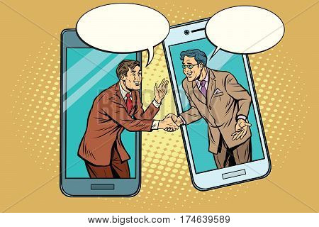 Online the talks of the two businessmen. Pop art retro vector illustration