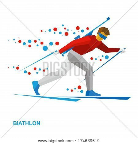 Winter Sports - Biathlon. Cartoon Biathlete Going Skiing With Rifle