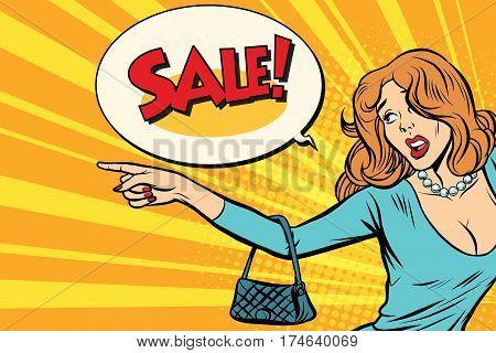The woman indicates sales. Pop art retro vector illustration
