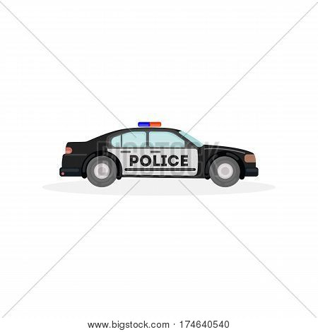 Isolated police car on white background. Concept of law, patrol and cops.