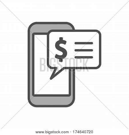 Phone message icon on white background. Concept of sms, service and communication.