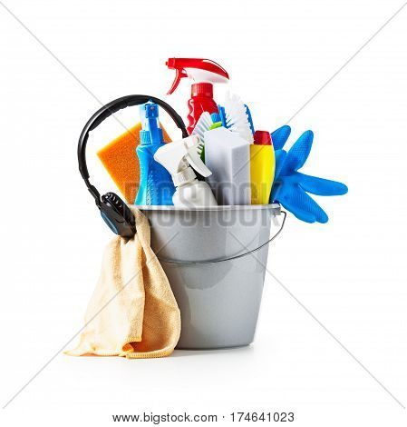 Bucket with cleaning supplies and music headphone isolated on white background. Single object with clipping path