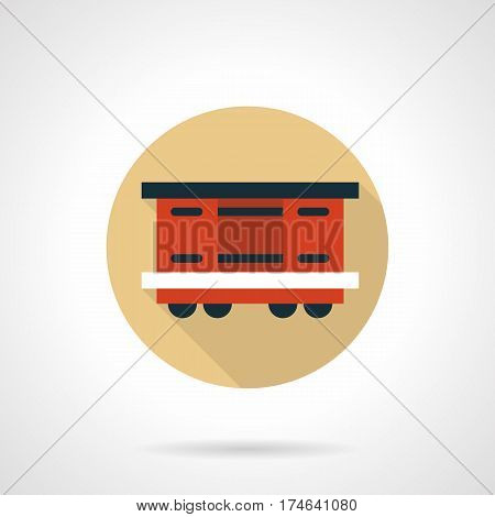 Red covered wagon symbol. Rail car for passenger and freights transportation. Round flat design beige vector icon, long shadow.