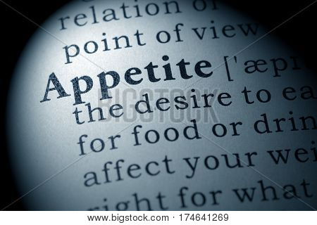 Fake Dictionary Dictionary definition of the word appetite. including key descriptive words.