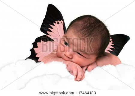 Infant Baby Girl in Clouds With Fantasy Butterfly Wings