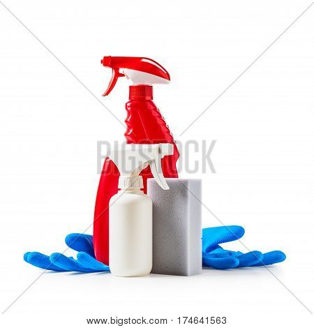Cleaning products spray bottles gloves and sponge isolated on white background clipping path included