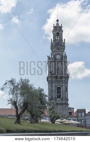 The Clerigos Tower (Torre dos Clerigos) city center in Oporto picture with no people