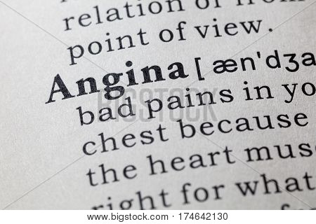 Fake Dictionary Dictionary definition of the word angina. including key descriptive words.