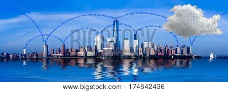 Panorama of lower Manhattan of New York City with cloud computing illustration of network connectivity between offices and the internet