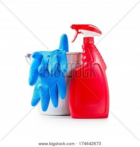 Cleaning products spray bottle gloves and bucket isolated on white background clipping path included
