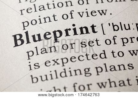 Fake Dictionary Dictionary definition of the word blueprint. including key descriptive words.