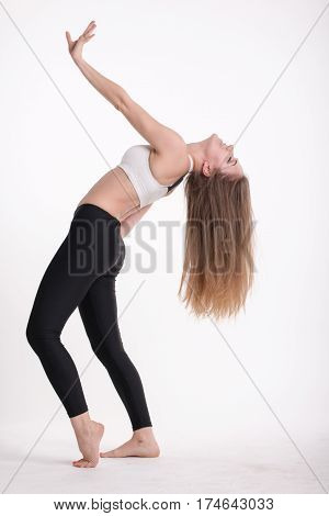 Slim Sporty Girl With Long Blond Hair