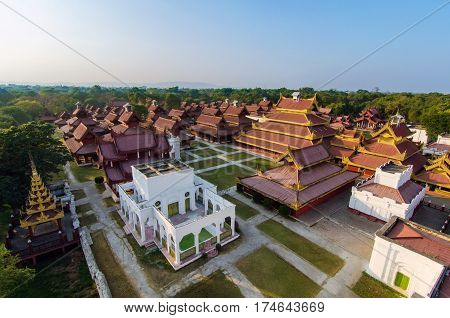 top view of Mandalay Palace in Mandalay city ,Myanmar