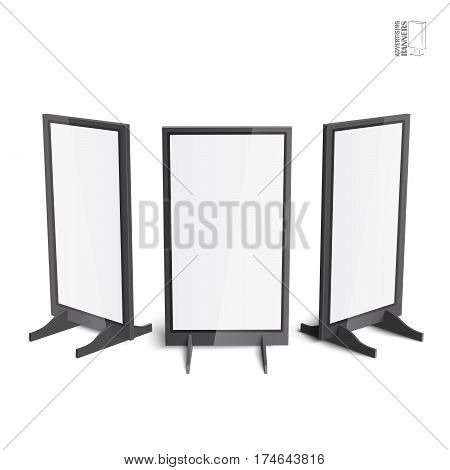 Set of simple outdoor indoor stander advertising stands banners shield displays, advertising. Mock up products on white background isolated. Ready for your design