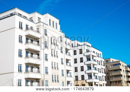 White apartment houses seen in Berlin, Germany