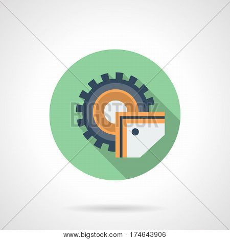 Abstract symbol of power-saw bench with disc blade. Metalworking equipment. Round flat design green vector icon, long shadow.