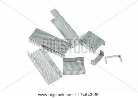 The metal staples isolated on white background.