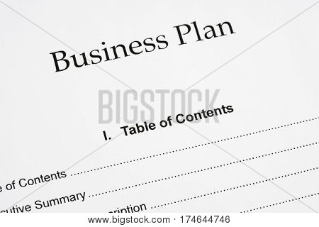 Business plan document and pen close-up .
