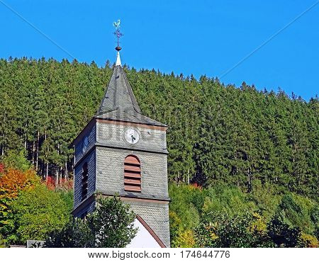 Steeple in Willingen in the Sauerland region in Germany