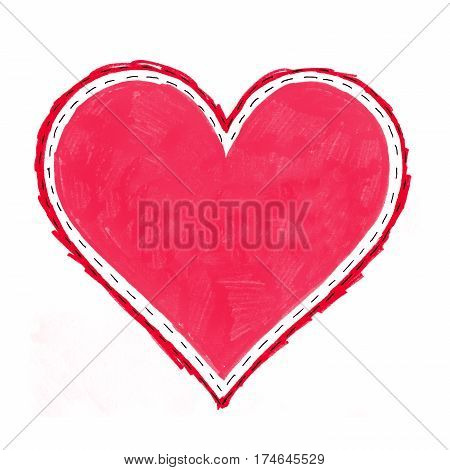 Abstract bright heart symbol on white background