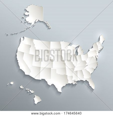 USA with Alaska and Hawaii map separate individual states 3D raster
