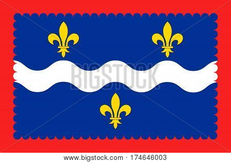 Flag of Indre is a department in the centre of France named after the river Indre. Vector illustration