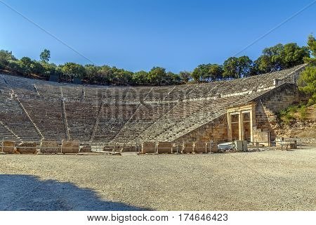 Epidaurus Theater. The theater was designed by Polykleitos the Younger in the 4th century BC Greece