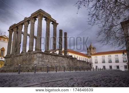 The 'Temple of Diana' in the UNESCO World Heritage Site of the City of Evora Portugal Europe.