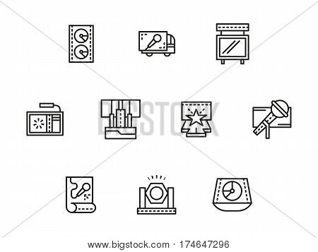 Elements and equipment for stage - sound, microphone, truss system and posters. Show and concerts organization. Collection of simple black line design vector icons.