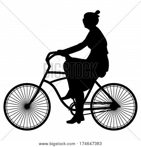 Vector illustration of black silhouette spring walking woman cyclist in a dress and sunglasses riding a bicycle on a white background, flat style.