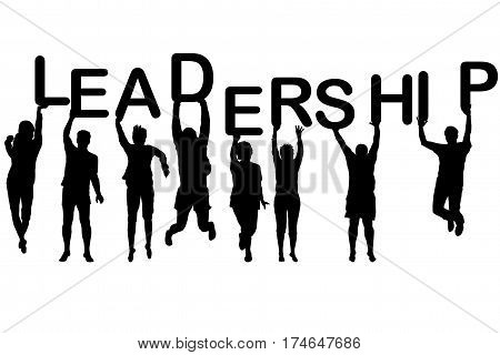 Leadership concept with people silhouettes holding letters with word LEADERSHIP