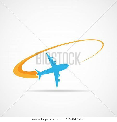 Airplane in sky. Airplane symbol in flat design. Concept of the air travel. Vector illustration.