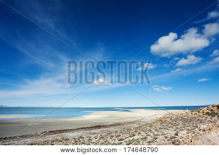 Beautiful panoramic view of Great Salt Lake at Antelope Island State Park, Utah, USA