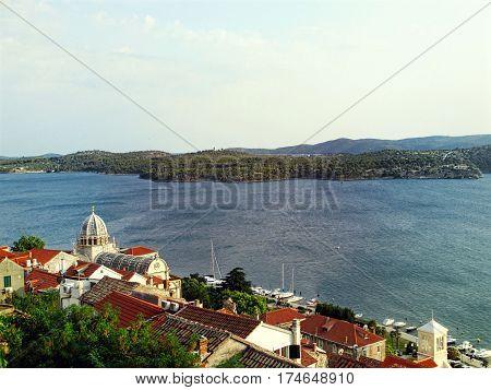 Nice view of the dalmatian city and the mediteranean sea in Croatia