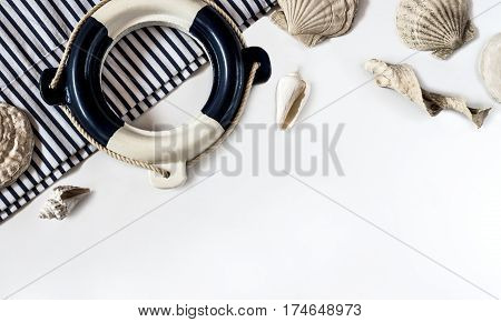 small decorative lifebuoy the on white background