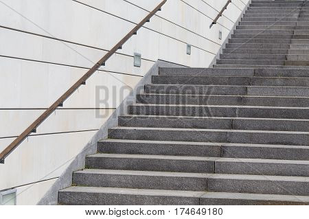 details of railing and stairs of a modern building