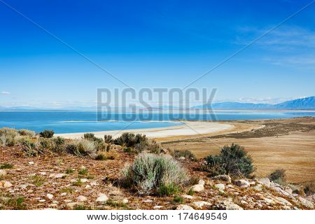 Panoramic view of beautiful Great Salt Lake at Antelope Island State Park, Utah, USA