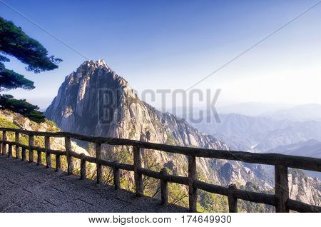 The dramatic landscape of Huangshan or Yellow Mountain at celestial peak located in Anhui Province China.