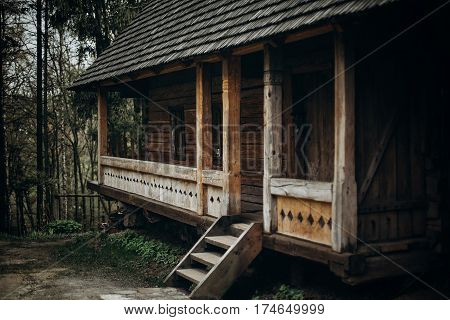 Entrance To Log Building In Norway, Rustic Wooden House With Straw Roof, Countryside Cabin Exterior,