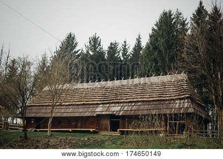 Rustic, Wooden Barn At Countryside Farm, Old Scandinatian Stable House With Thatch Roof In National
