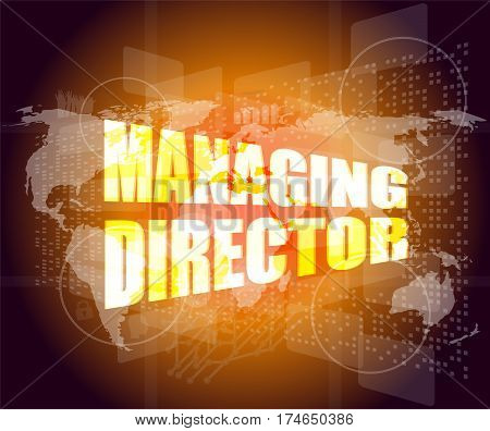 Managing Directors Words On Digital Screen Background With World Map