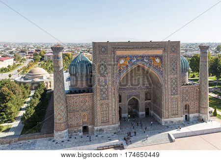 Top view on Sher-Dor madrasah on Registan square in Samarkand Uzbekistan