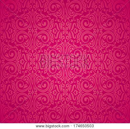 Red floral vector pattern design decorative background