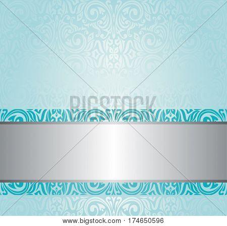 Turquoise floral vintage invitation decorative background design
