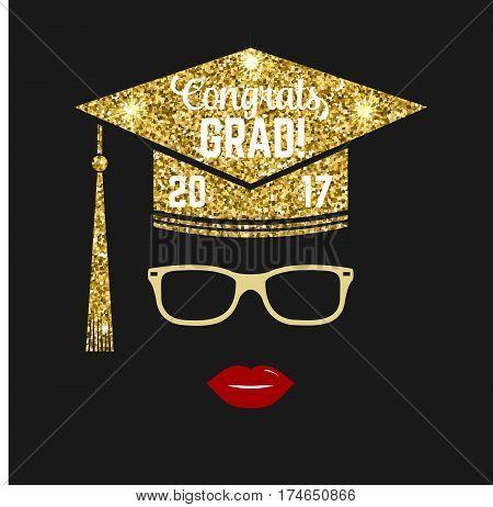 Vector Class of 2017 badge. Concept for shirt, print, seal, overlay or stamp, greeting, invitation card. Typography design- stock vector. Design with graduation cap, glasses, lips and text Class of.