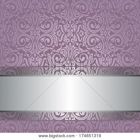Violet vintage  invitation design background with copy space